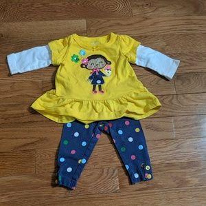 🌷Carter's matching set: girls size NB yellow&blue